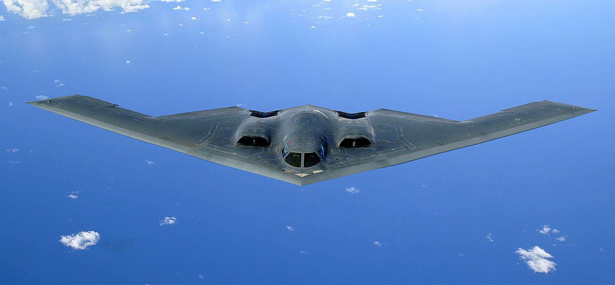 OVER THE PACIFIC OCEAN -- A B-2 Spirit soars through the sky after a refueling mission, 30 May, 2006. The B-2 is assigned to the 393rd Expeditionary Bomb Squadron from Whiteman Air Force Base, Mo. The bomber is currently deployed to Andersen AFB, Guam, as part of a continuous bomber presence in the Asia-Pacific region. .(U.S. Air Force Photo by: Staff Sgt Bennie J. Davis III)..